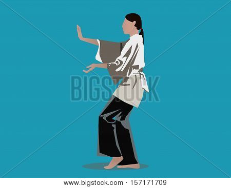 Woman Performing Tai Chi. Concept Illustration. Vector Flat