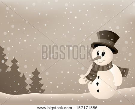 Stylized winter image with snowman 4 - eps10 vector illustration.