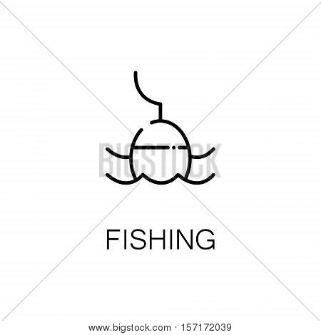 Fishing flat icon. Single high quality outline symbol of camping for web design or mobile app. Thin line signs of fishing for design logo, visit card, etc. Outline pictogram of fishing