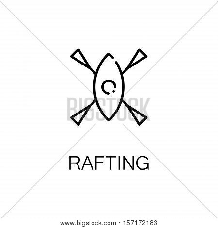 Rifting flat icon. Single high quality outline symbol of camping for web design or mobile app. Thin line signs of boat for design logo, visit card, etc. Outline pictogram of rifting