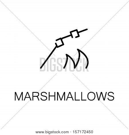 Marshmallows flat icon. Single high quality outline symbol of camping for web design or mobile app. Thin line signs of marshmallows for design logo, visit card, etc. Outline pictogram of marshmallows