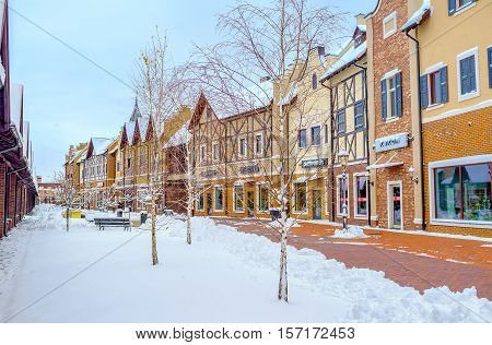 KIEV UKRAINE - NOVEMBER 11 2016: The Dutch Revival style outlet city is the nice place enjoy the shopping and winter weather on November 11 in Kiev.