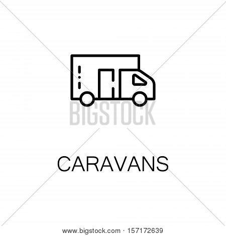 Caravans flat icon. Single high quality outline symbol of camping for web design or mobile app. Thin line signs of camping car for design logo, visit card, etc. Outline pictogram of caravans