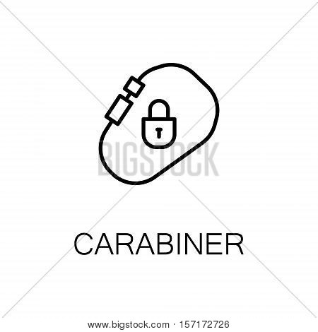 Carabiner flat icon. Single high quality outline symbol of camping for web design or mobile app. Thin line signs of carabiner for design logo, visit card, etc. Outline pictogram of carabiner