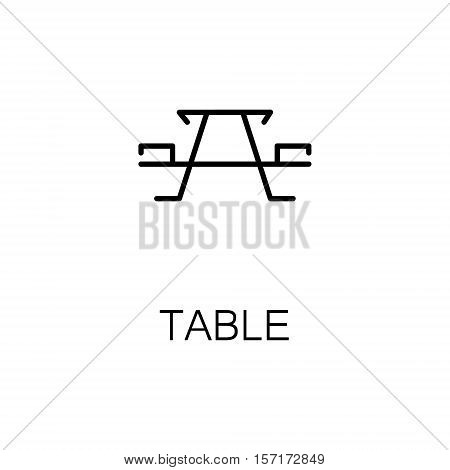 Table flat icon. Single high quality outline symbol of camping for web design or mobile app. Thin line signs of camping table for design logo, visit card, etc. Outline pictogram of table
