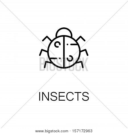 Insects flat icon. Single high quality outline symbol of camping for web design or mobile app. Thin line signs of insects for design logo, visit card, etc. Outline pictogram of insects