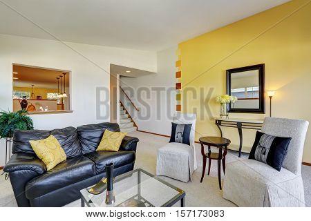 Bright Living Room Interior In Duplex House.