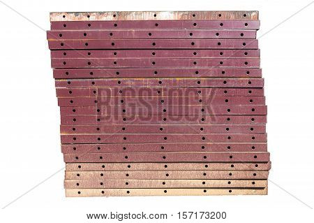 Iron plate build beams and pillars in building construction.isolate white backgound