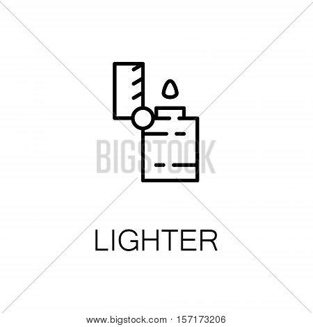 Lighter flat icon. Single high quality outline symbol of camping for web design or mobile app. Thin line signs of lighter for design logo, visit card, etc. Outline pictogram of lighter