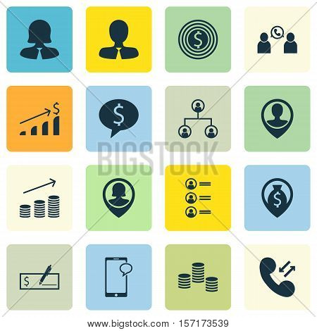 Set Of Hr Icons On Tree Structure, Business Deal And Coins Growth Topics. Editable Vector Illustrati