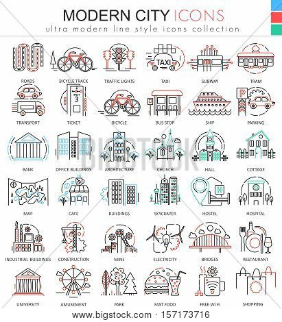 Vector Modern city color flat line outline icons for apps and web design. Urban smart city elements icons