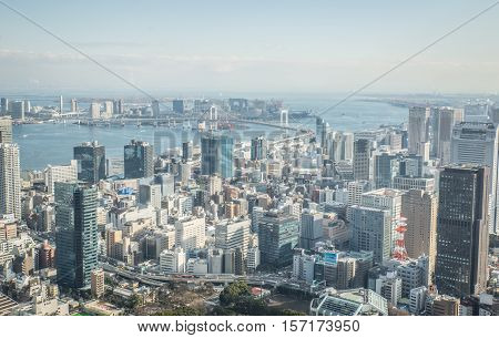 Tokyo aerial view from Bunkyo point. Landmark concept