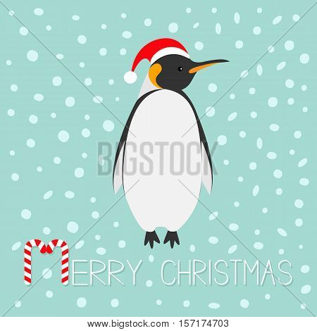 King Penguin Santa red hat. Emperor Aptenodytes Patagonicus Cute cartoon character. Flat design Winter antarctica blue snow background Merry Christmas Candy cane text Greeting card Vector illustration