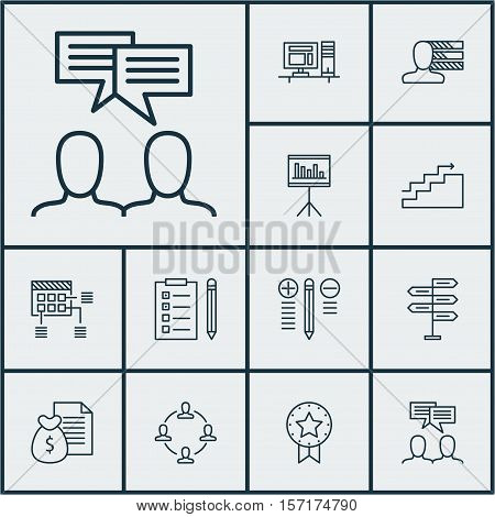 Set Of Project Management Icons On Reminder, Present Badge And Decision Making Topics. Editable Vect
