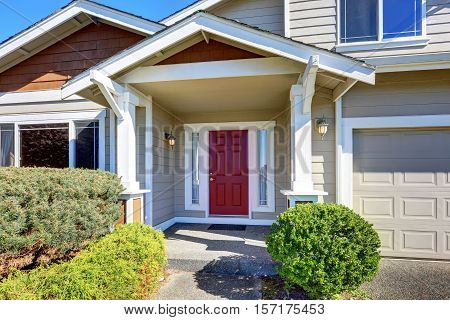 Entrance Porch With Red Front Door