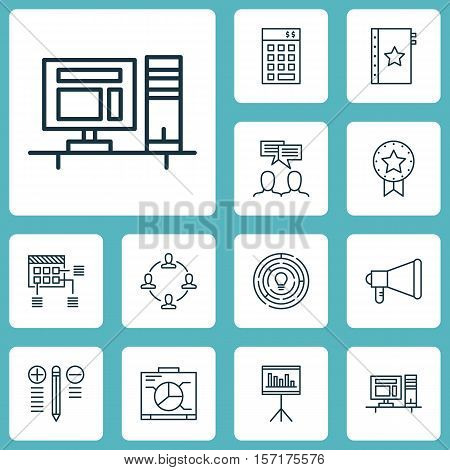 Set Of Project Management Icons On Collaboration, Innovation And Schedule Topics. Editable Vector Il