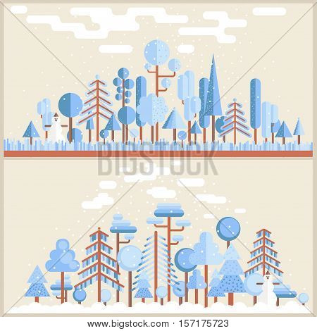 Winter Forest Flat Illustration in light blue and broun colors