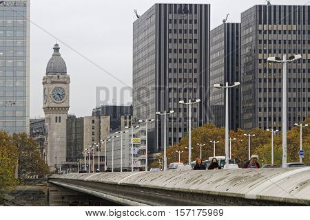 Paris, France, November 15, 2016 : Across The Seine To The Railway Station. The Gare De Lyon Is One