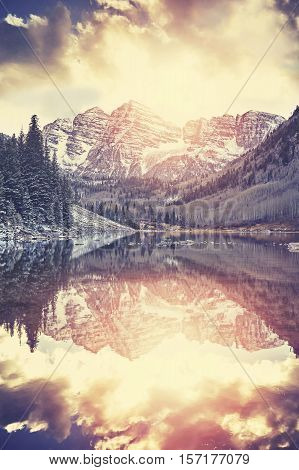 Vintage Toned Maroon Bells At Sunset, Colorado