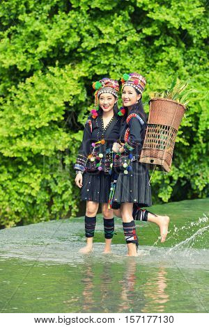 Hmong hill tribe people dressed in costumes a beautiful city in Laos.