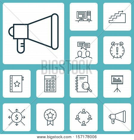 Set Of Project Management Icons On Discussion, Growth And Time Management Topics. Editable Vector Il