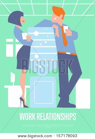 Business colleagues speaking near water cooler in office. Work relationships banner, vector illustration. Coworkers talking. Business people. Office life. Corporate culture. Teamwork concept