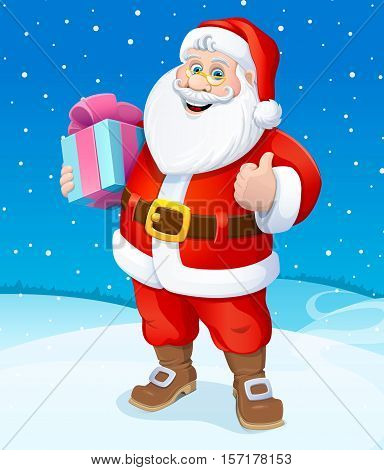 Christmas. Santa Claus with gifts. Vector illustration