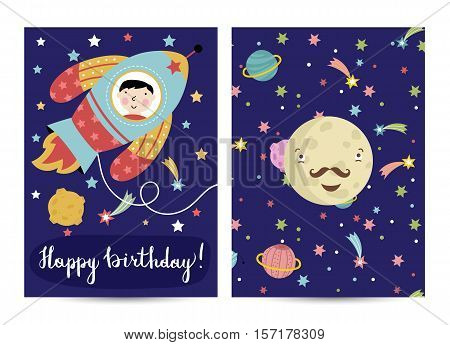Happy birthday cartoon greeting card on space theme. Boy flying on rocket in cosmos, smiling moustached Mercury surrounded stars and planets vector. Bright invitation on childrens costumed party