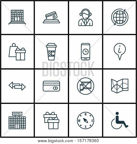 Set Of Airport Icons On Plastic Card, Crossroad And Takeaway Coffee Topics. Editable Vector Illustra