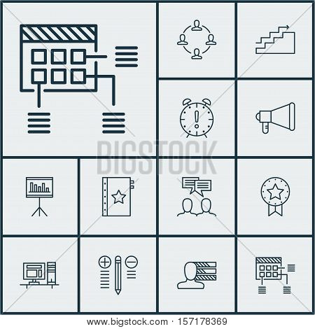 Set Of Project Management Icons On Present Badge, Discussion And Warranty Topics. Editable Vector Il