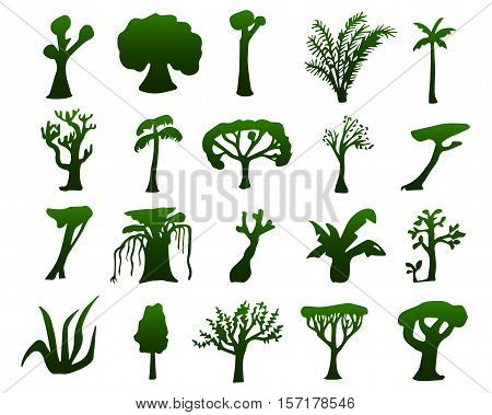 Tropical trees hand-drawn silhouettes. Green silhouettes of exotic plants. Nature silhouette isolated. Hand-drawn vector illustration of jungle tree. Oak tree, coco palm tree, sequoia, banyan, bamboo
