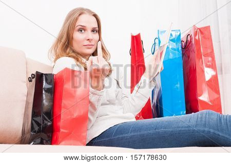 Lady Shopping Online And Showing Obscene Gesture