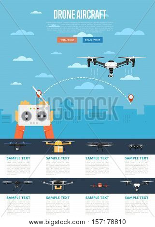 Drone technology banner with remotely controlled flying robot in city vector illustration. Multicopter set. Unmanned aerial vehicle. Drone aircraft with camera. Modern flying device.