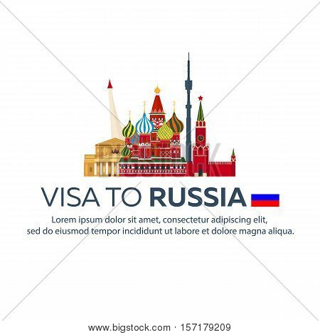 Visa To Russia. Travel To Russia. Document For Travel. Vector Flat Illustration.