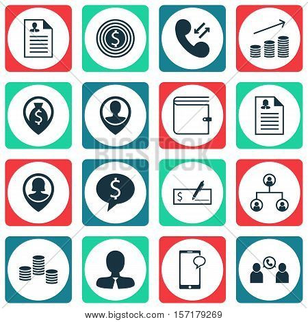 Set Of Human Resources Icons On Coins Growth, Tree Structure And Business Deal Topics. Editable Vect