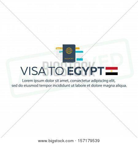 Visa To Egypt. Travel To Egypt. Document For Travel. Vector Flat Illustration.