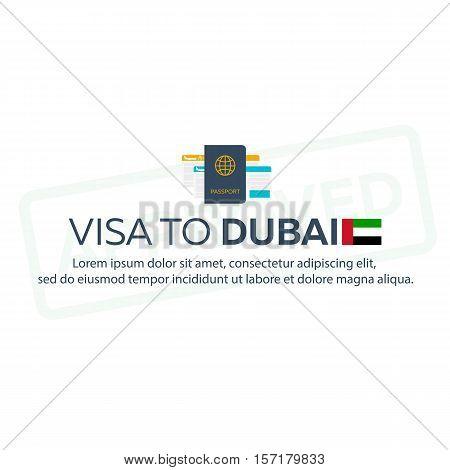 Visa To Dubai. Travel To Dubai. Document For Travel. Vector Flat Illustration.