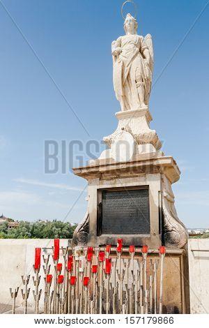 San Rafael Archangel statue in the Roman bridge Cordoba Andalusia Spain