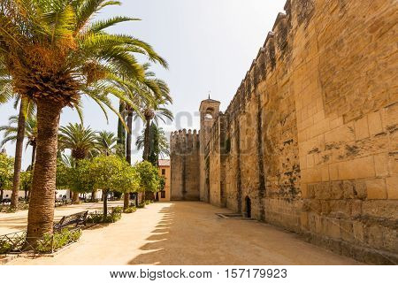 The palace of the Alcazar of the Christian Monarchs Alcazar de los Reyes Cristianos in Cordoba Spain