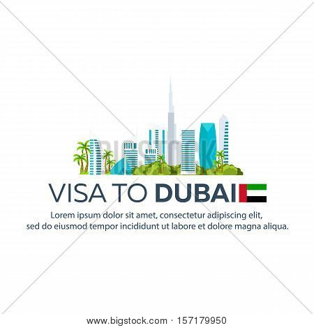 Visa To Dubai. Travel To Dubai. Document For Travel. Vector Flat Illustration.