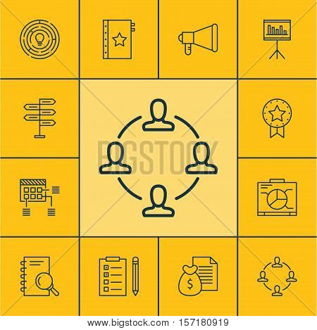 Set Of Project Management Icons On Collaboration, Analysis And Board Topics. Editable Vector Illustr