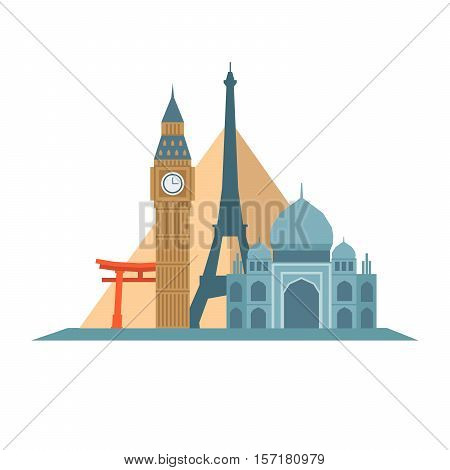 Historical Tourism And Travel Icon. World Landmarks. Flat Style, Vector Illustration.