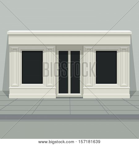 Facade shop store boutique with glass windows and doors front view. Front of house. Template for outdoor advertising. Vector detailed illustration.