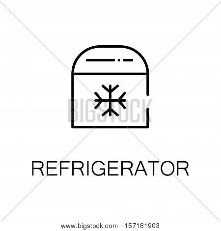 Refrigerator flat icon. Single high quality outline symbol of camping for web design or mobile app. Thin line signs of refrigerator for design logo, visit card, etc. Outline pictogram of refrigerator