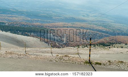 The road to the summit of Mont Ventoux seen from the village of Bedoin in Provence Southern France