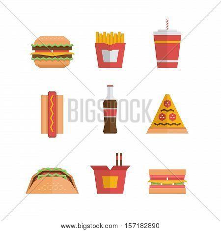 Fast Food Icon - Hamburger, French Fries, Soda, Pizza, Hotdog, Tacos, Sandwich, Noodle. Flat Design.