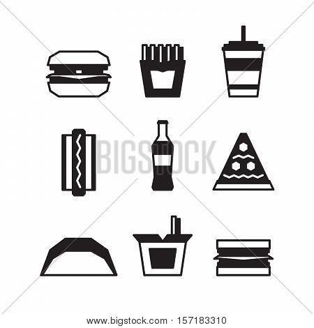 Fast Food Icon Set - Hamburger, French Fries, Soda, Pizza, Hotdog, Tacos, Sandwich, Noodle. Vector I