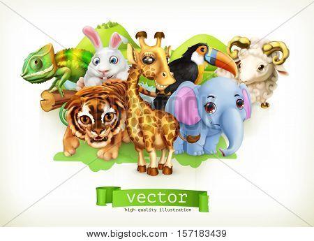 Funny animal group. Cute giraffe, small tiger, baby elephant, chameleon, toucan, happy bunny, lamb. 3d vector