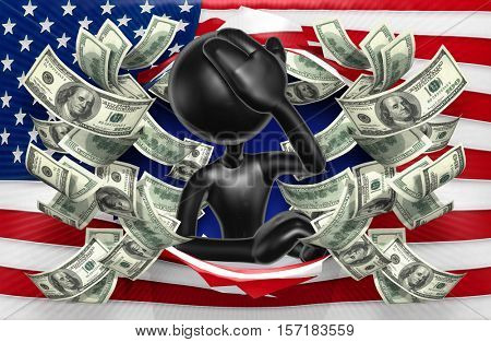 The Original 3D Character Illustration With American Flag And Money
