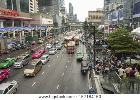 BANGKOK THAILAND - OCT 2 : scene of traffic and people on Ratchadamri road near CentralWorld on october 2 2016 thailand.